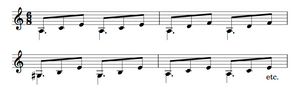 A low position triadic guitar accompaniment
