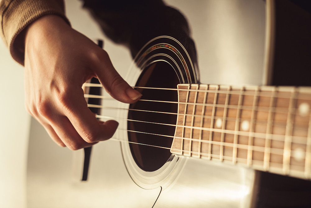 Right hand of a guitarist playing the strings of an acoustic guitar