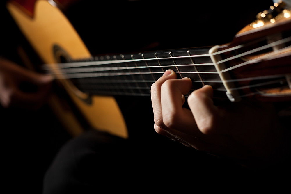A man playing classical guitar