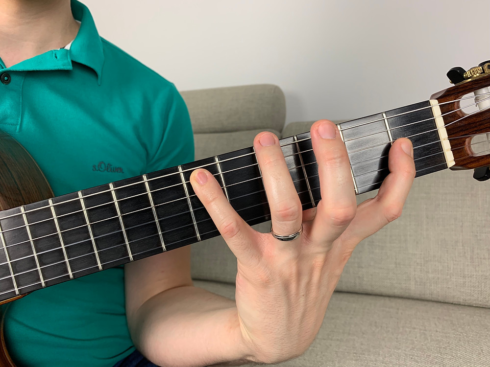 Guitar fingerboard with a finger stretch of six frets