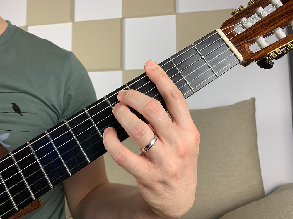 G minor 7 chord, drop 2 with root