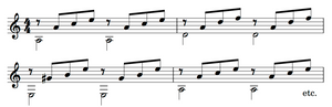 A typical 4-part triadic guitar accompaniment