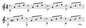 A typical 4-part triadic arpeggio accompaniment