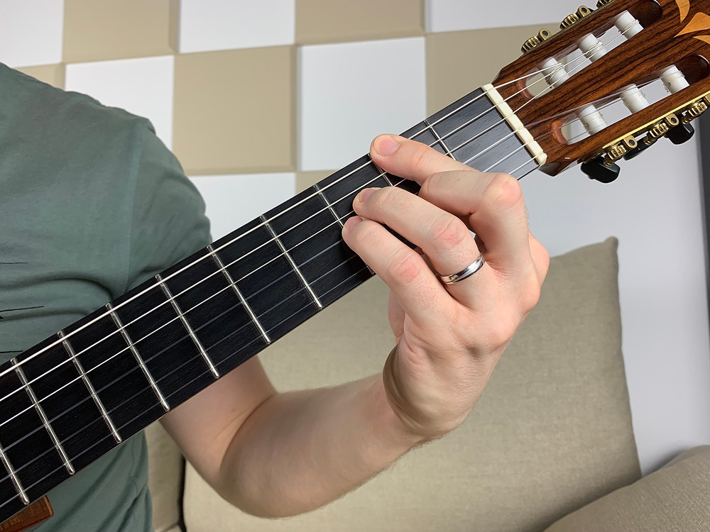 F# major 7 chord fretted on four strings, muting the remaining two strings