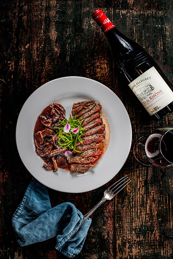Butcher's Steak in mushrooms, red wine and a dash of crème sauce. Grass fed beef of the highest quality straight from Golan heights
