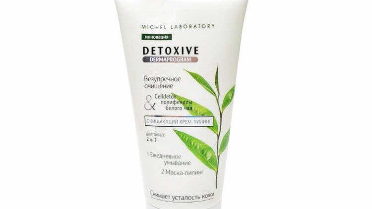 Очищающий крем пилинг для лица 2 в 1 Detoxive полифенолы белого чая Michel Labor
