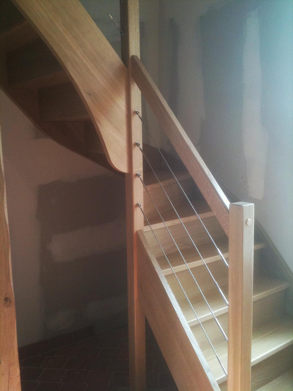 Escalier chêne quart tournant