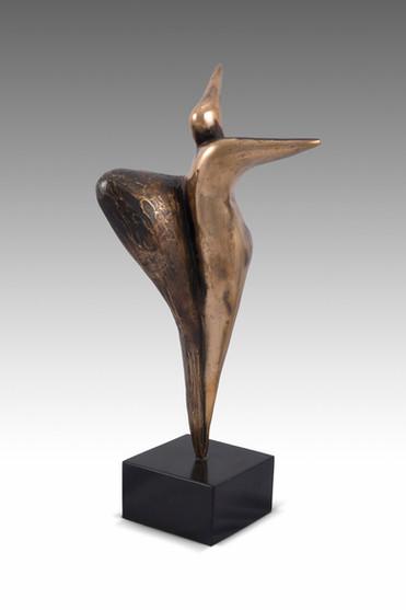 Silent Scream, 2015, Bronze, black marble 14 x 8 x 43 cm