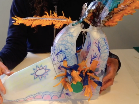 Find out how to make a head dress from milk cartons