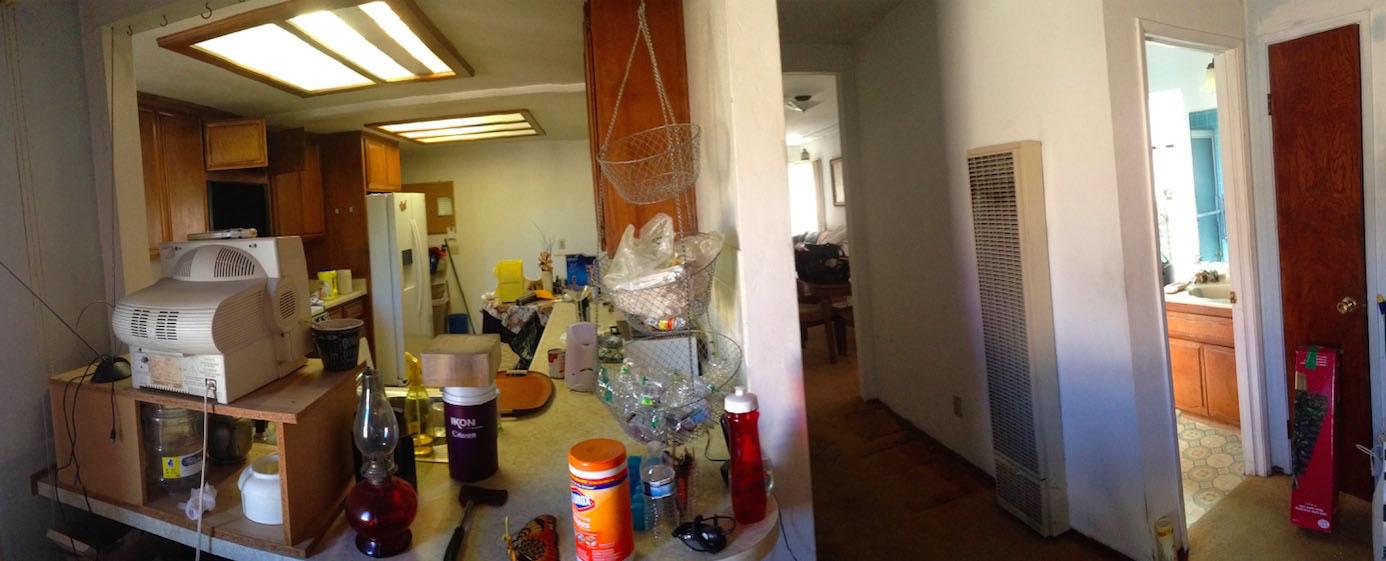 kitchen, hall, bathroom