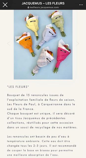 Promotion de l'Événement « Les Fleurs » sur l'Instagram de Jacquemus