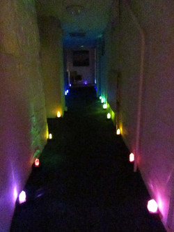 Crystal lit corridor