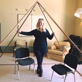 kelly and her pyramid at Hawkwood.jpg
