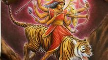 Goddess Durga and Tiger's eye