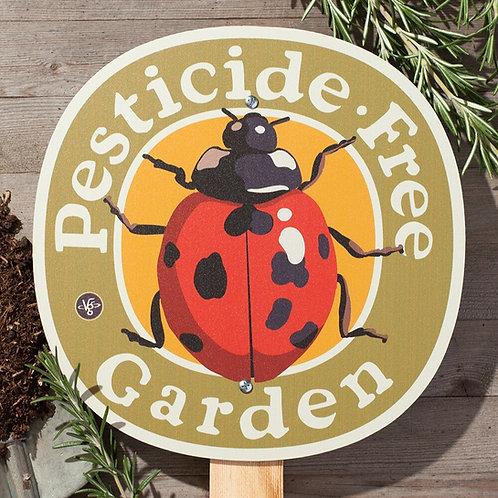 Ladybug Pesticide Free Garden - garden sign