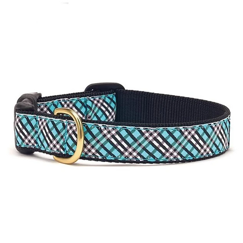 Aqua Plaid Dog Collar