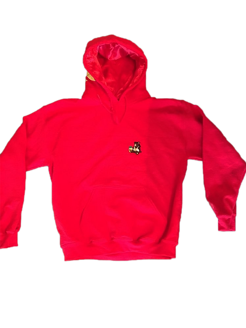 Satin Lined Red RC Hoodie (Hand Sewn)