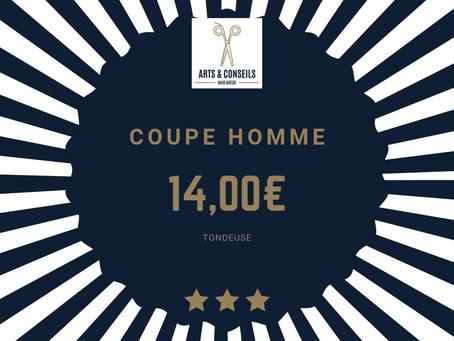 La coupe homme est à partir de 14,00€ chez Arts & Conseils, Salon de coiffure à Soumagne