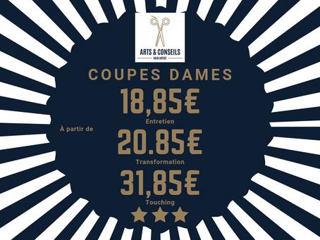 La coupe dame est à partir de 18,85€ chez Arts & Conseils, Salon de coiffure à Soumagne