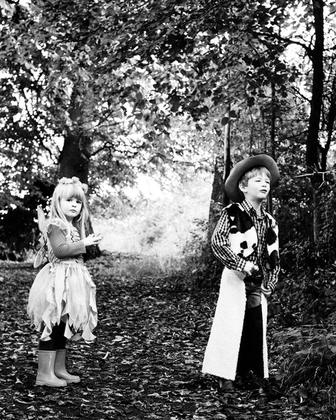 Fairy and Cowboy in the woods. Copyright Sarah Curtice Photography