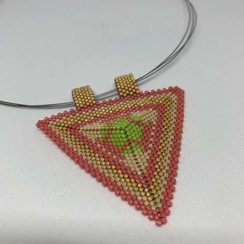 Beaded Triangle Pendant - Tranquility
