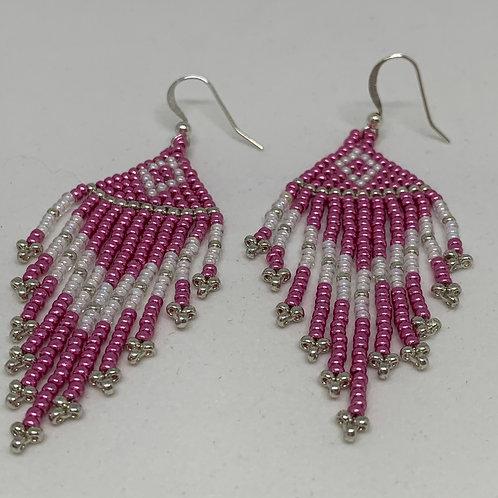 Pink Beaded Fringe Earring - Breast Cancer Awareness - Dangle earring - gift for