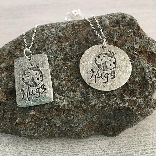 "Sterling Silver ""Sentiments"" Ladybug Hugs pendant charm necklace"