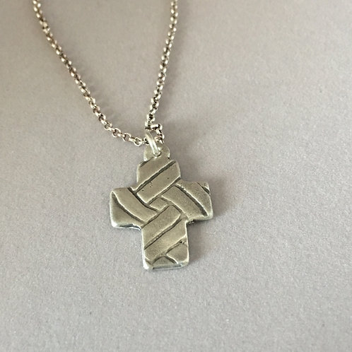 Sterling Silver Cross Follow the Path Pendant
