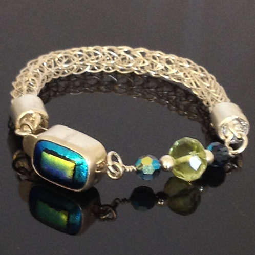 Viking Knit Fine Silver and Dichroic Clasp Bracelet