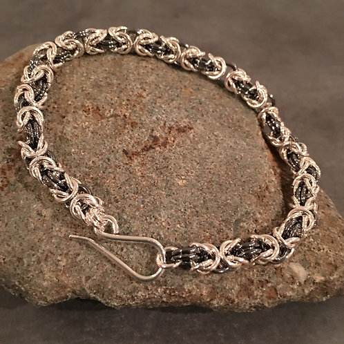 Black Sterling Unisex Chainmaille woven bracelet