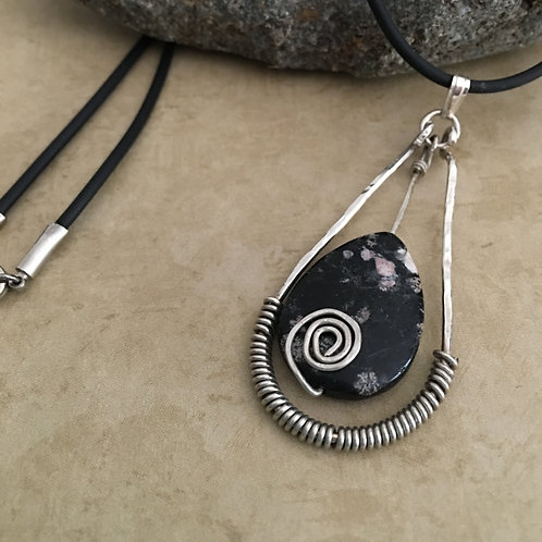 Sterling Silver Spiral Wrapped Pendant with Black agate stone