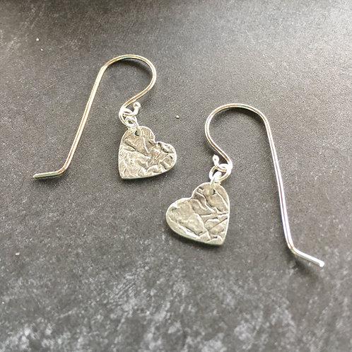 Tiny Sterling Silver Heart Drop Earrings