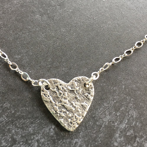 Tiny Textured Sterling Silver Heart Necklace