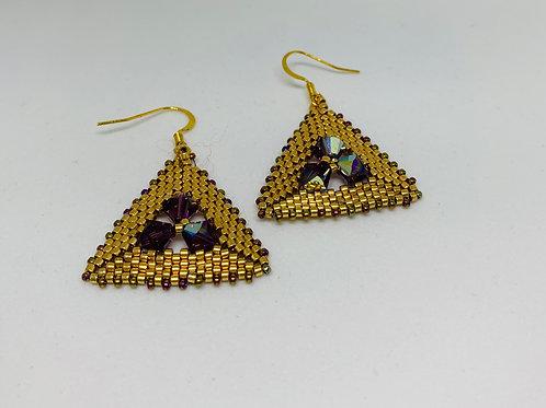 Beaded Peyote Crystal Swarovski Bicone Earrings