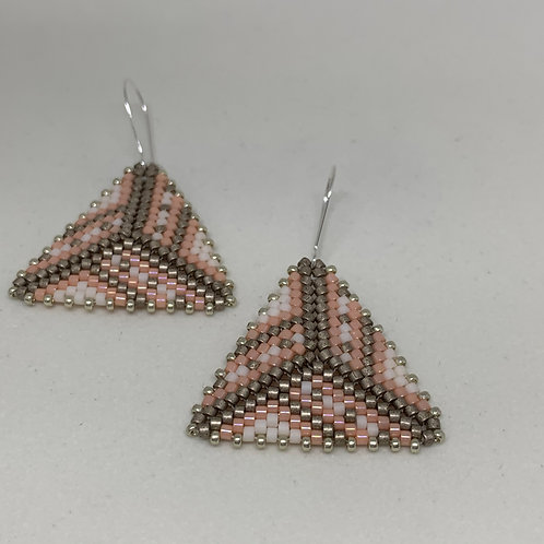 Bead Stitched Earrings - Metallic Pink