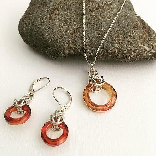 Cosmic Circle Sterling Silver Hoop Jewelry Set