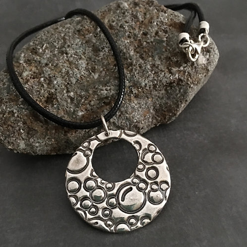 Spheres sterling silver choker style pendant with black cord
