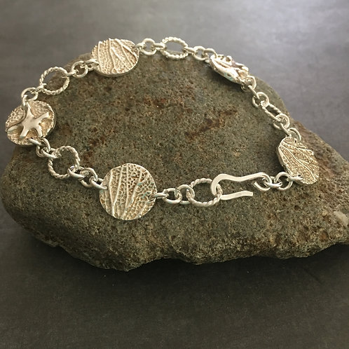 Starfish and Coral Sterling Silver Charm Bracelet