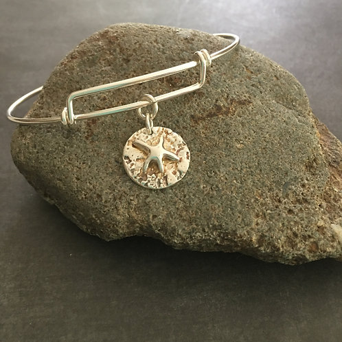 Silver Starfish Expandable Bangle Bracelet