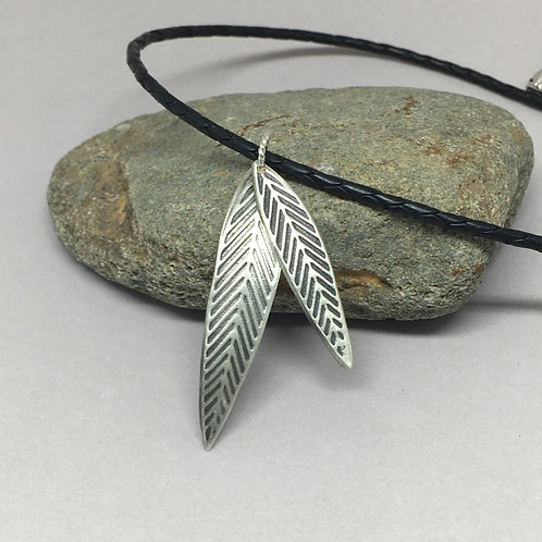 Sterling Silver Leaf Pendant Necklace with Black braided leather cord