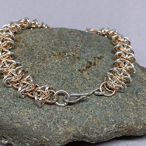 Rose gold and Sterling Silver Chainmaille Bracelet Celtic Weave