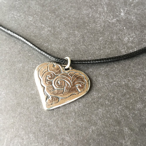 Sterling Heart Silver necklace black leather cord choker