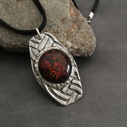 """""""Eye of the Tiger"""" Sterling Silver and Glass Pendant"""