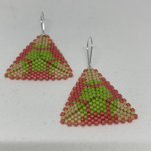 Beaded Triangle Earrings - Tranquility