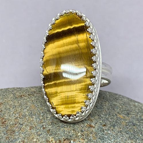 Tiger Eye Oval Gemstone Sterling Silver Statement Ring