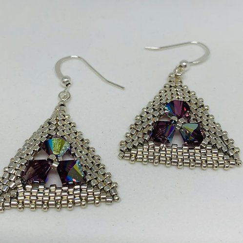 Beaded Silver Peyote Bicone Earrings