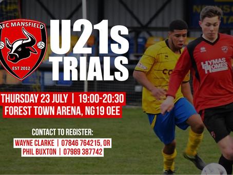 U21 trials next week