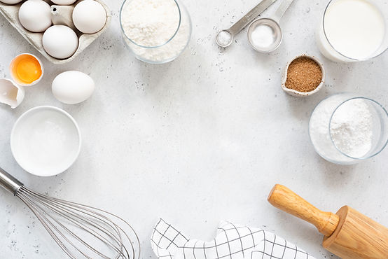 Frame of baking and cooking bread pastry or cake ingredients, flour sugar milk eggs and co