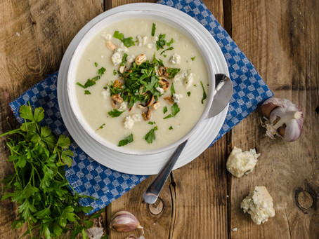 Cauliflower, Garlic and Blue Cheese Soup