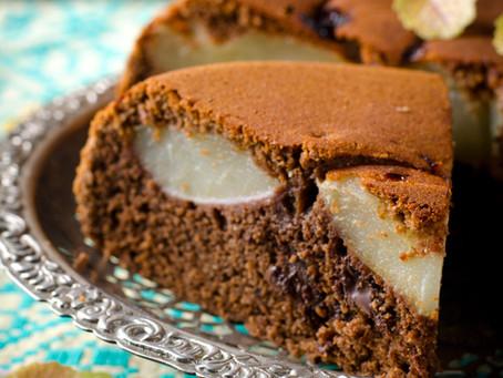 Pear & Chocolate Upside Down Cake #lowcarb #sugarfree #lchf #keto